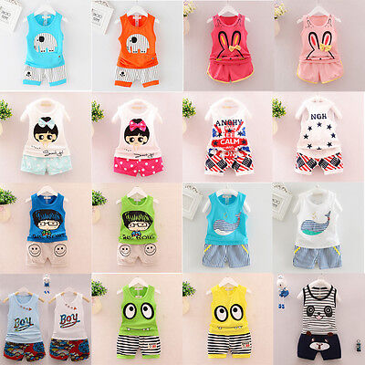 2pcs Toddler Infant Newborn Baby Boy Girl T-shirt Tops+Pants Outfits Set Clothes
