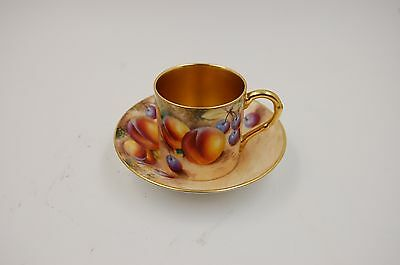 Antique Royal Worcester  Fruits & Gold Cup & Saucer  ~Wow ~ Very Rare ~