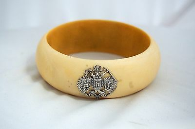 Rare Antique Russian Imperial Bracelet w Silver Double Headed Eagle Code of Arms
