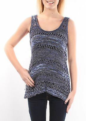 INC $80  Womens New 1129 Blue Scoop Neck Sleeveless Casual Top S B+B