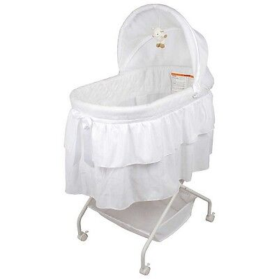 New Childcare Lullabye Lamb Baby Bassinet Linen Stand Sleep Quilted Skirt