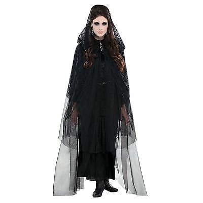 Adult Ladies Halloween Widow Bride Gothic Lace Hooded Cape Fancy Dress Costume