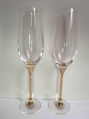 Gold Wedding Toasting Glasses Champagne Flute Crystal Stem Bridal Engagement