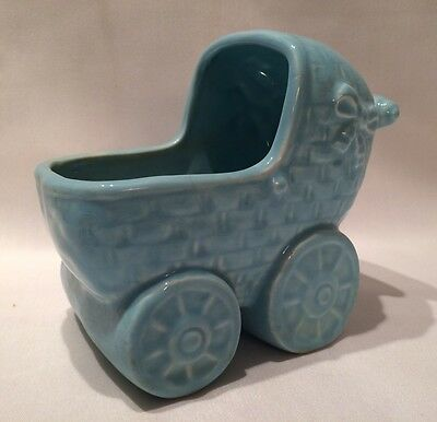 Vintage Blue Baby Buggy Carriage Planter Nursery Decor