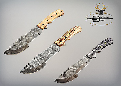"""Tracker Knife 13"""" Long Full Tang Hand Forged Damascus Blade Cow Leather Sheath"""