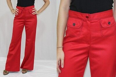 Vintage 70s HIGH Waist Red WIDE Leg Bellbottom Hippie Boho Retro Pants~26x31