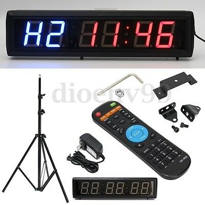AU 2.3'' Programmable LED Interval Timer Big Stopwatch Home Gym Crossfit Fitness