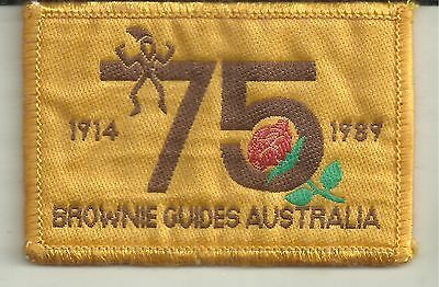 1914 - 1989 75th ANNIVERSARY BROWNIES GUIDES AUSTRALIA PATCH GIRL GUIDES
