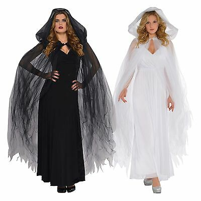 Ladies Temptress Hooded Cape Halloween Fancy Dress Outfit Accessory Ghost Angel