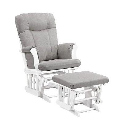 Glider Chair And Ottoman Rocking Nursery Furniture Baby Rocker Seat White/Gray