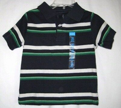 Boys 18 Month Navy White & Green Striped Shirt Nwt ~ The Children's Place