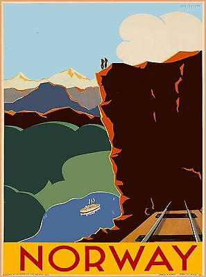Norway Norwegen Mountain Lake Scandinavia Vintage Travel Advertisement Poster