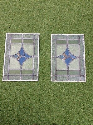 2 Stained Glass Leaded Windows