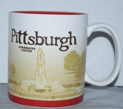 Starbucks Coffee Mug 2010 PITTSBURGH Collector Series Point Park fountain scene