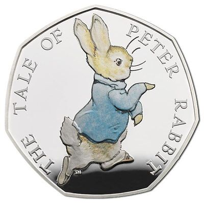 UK 2017 Peter Rabbit Silver Proof 50p Beatrix Potter
