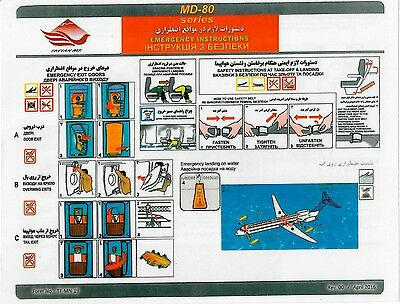 Safety Card TAFTAN AIR MD-80 *Extremely RARE* Original Iran Airlines
