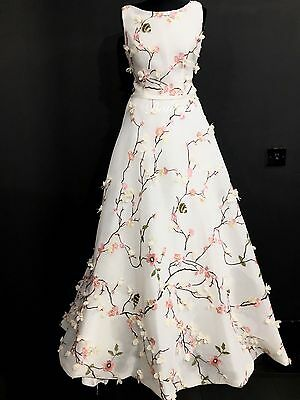 New White Bridal Wedding Dress Prom Evening Party Ball Gown Size 12 UK embroided