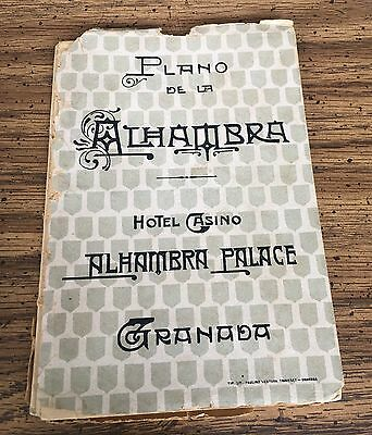 Rare? 1908 Map Plan Alhambra Hotel Casino Palace Granada Large 36x26 inches NR!