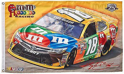 NASCAR Kyle Busch #18 M&M 2-Sided 3 x 5 Deluxe Flag