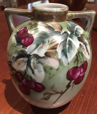 Hand painted vase -cherries and gold