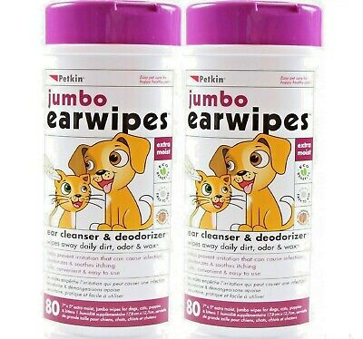 "JUMBO EAR WIPES x160 - (80wipes x2) - 7 x 5"" Petkin Dog Cat Cleaning Wet bp Wipe"