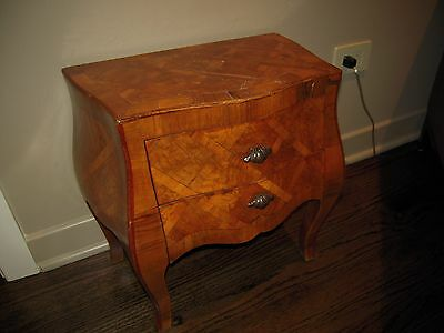 Antique 1940s Wooden Marquetry 2-Drawer Chest