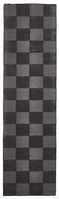80x400cm Runner Modern Floor Area Rug Wool Grey Checkered Solid Colour FREE SHIP