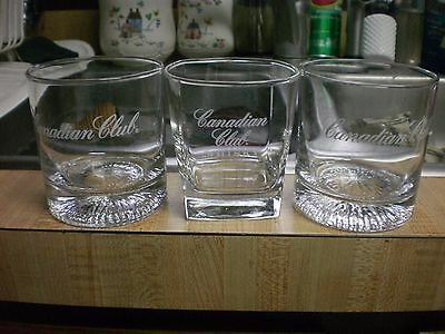 (3) CANADIAN CLUB  WHISKEY ON THE ROCKS GLASSES  HEAVY GLASS  NICE  2 round 1 sq