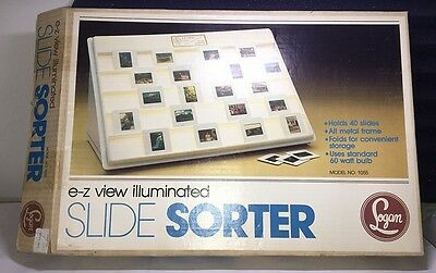 """PHOTO SLIDE SORTER by Logan Electric 12 x 16"""" E-Z View 1055 HOLDS 40 35mm SLIDES"""