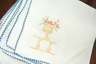 Vintage Art Noveau Napkins Hand Embroidered Petit Point Set Of 4 Linen