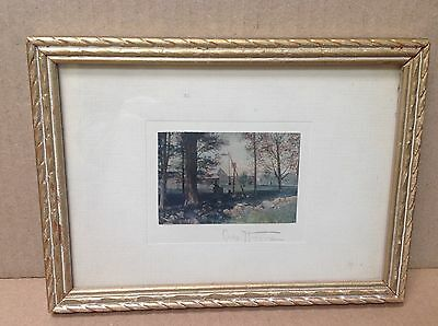 Charles Higgins Rare Farm Scene With Well Framed Hand Colored Photo Nutting Peer