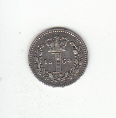 1864 Great Britain Queen Victoria Silver Maundy Penny