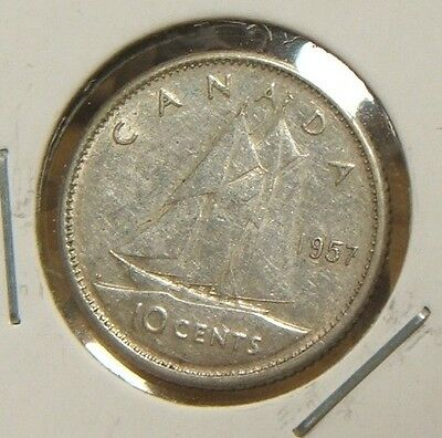 1957~~Canada~~10 Cents~~Silver~~Au Beauty