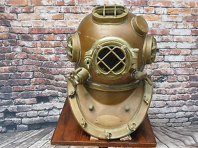 1941 U S NAVY Full Size Diver Brass Diving Helmet Nautical Decor Great Condition