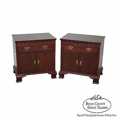 Baker Pair of Mahogany Chippendale Style Nightstands Chests