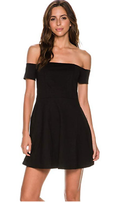 NWT Macy's Free People Women's Black Off The Shoulder Fit & Flare Dress M NWT90