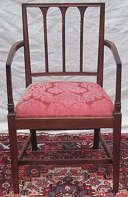 18Th Century Mahogany Hepplewhite Feather Carved Arm Chair-Rare Specimen