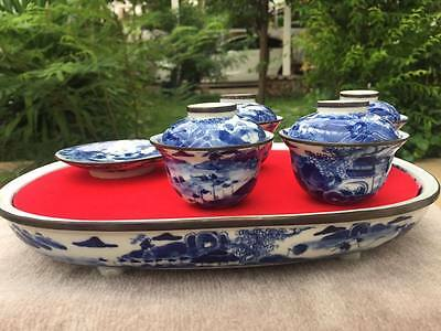 Big 0ld Chinese teaset Porcelain with Tray.Landscape painted...