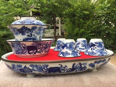 Big 0ld Chinese teaset Porcelain with Tray.Hand painted...