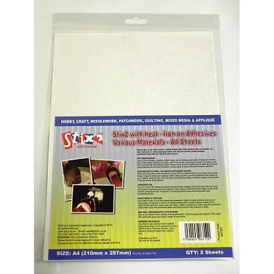 Stix2 with heat iron on adhesive various materials 2 x  A4 sheets S57357