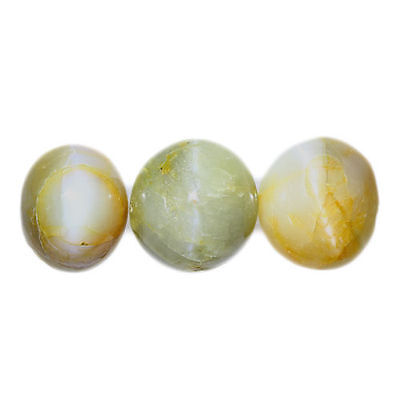 3.555 Ct Very Very Rare Natural Green Color  Chrysoberyl Oval Cab !!! 3-Pcs !!!
