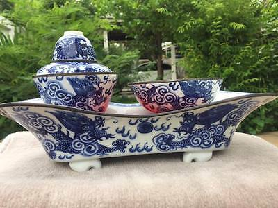 Big 0ld Chinese teaset Porcelain with Tray.Dragon Hand painted...