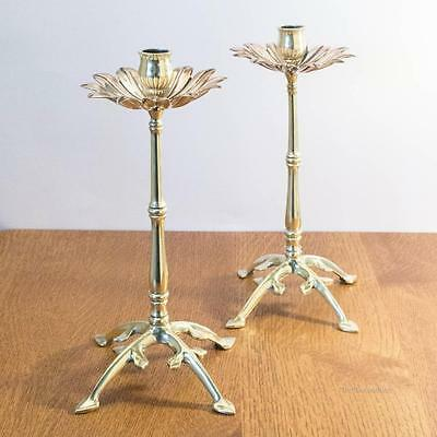 W.A.S. BENSON Pair of Arts and Crafts Brass & Copper Candlesticks Candle Holders