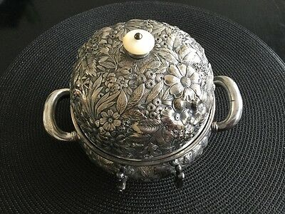 Antique Repousse Silverplate Covered Butter Dish