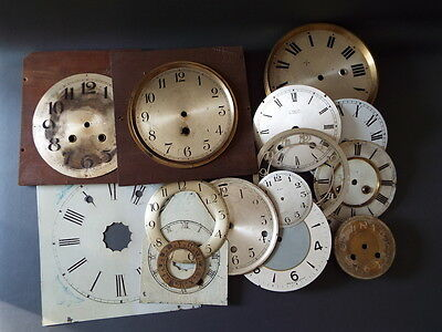 Job lot of vintage clock dials for spares and parts