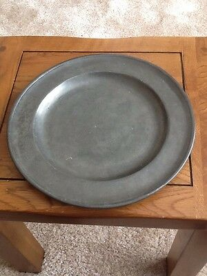 Antique Heavy Pewter Plate Marked
