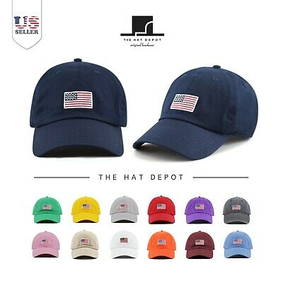 021fc5b7 The Hat Depot USA/ Flag Embroidered Washed Cotton Low Profile Baseball Cap