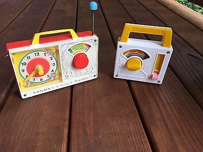 Set Of 2 Vtg. Working Fisher Price Toys: 1971 Clock Radio & 1981 Radio