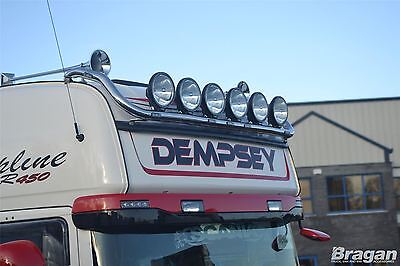 To Fit Scania 4 Series Topline Polished Steel Front Roof Light Lamp Bar