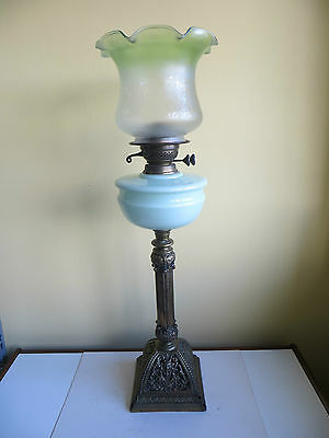 Tall Antique Oil Lamp Green Milk Glass TRS Brass Double Wick Etched Shade a/f